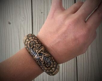 One of a Kind Star and Flower Bangle Bracelet
