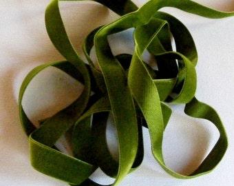 Vintage 1930's Silk Charmeuse Velvet Ribbon 5/8 Inch Moss Green