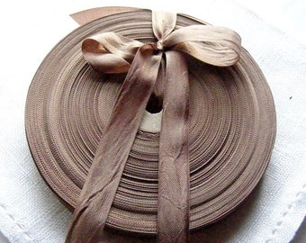 Vintage 1930's-40's French Woven Ribbon -Milliners Stock- 5/8 inch Soft Cocoa Brown