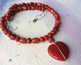 FREE SHIPPING Red Jade Heart Pendant Necklace