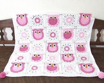 Handmade crochet baby Owl nursery blanket, stroller blanket