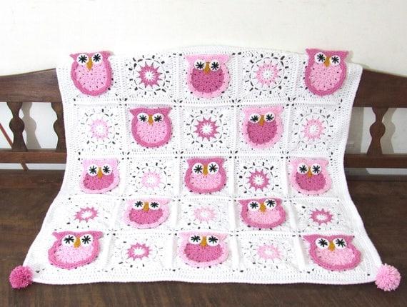 Made to order.Handmade crochet baby Owl nursery blanket, stroller blanket