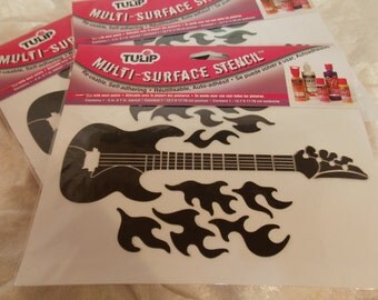Multi-Surface Stencil Guitar with Flames Stencil Re-Usable Self-Adhering Tulip Stencils