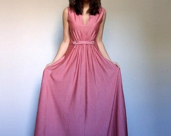 Vintage Dusty Rose Dress Pink Floor Length Dress Boho Pink Maxi 70s Dress Boho Dress Long Maxi Dress - Medium M
