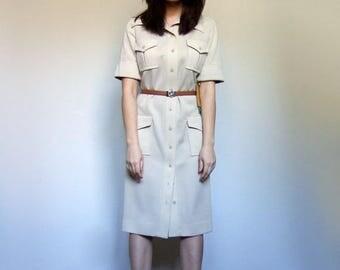 Cream Beige Knit Dress Vintage Short Sleeve Dress Pockets Late 60s Early 70s Safari Dress Collared Dress - Medium to Large M L