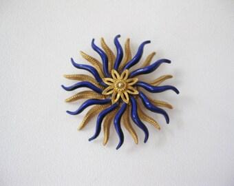 Swirly Enamel Flower Pin, Mid Century Costume Brooch