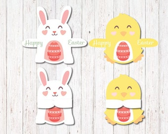 Printable Easter Candy Huggers - Bunny and Chick Party Favor, Single candy holders for kids classroom,  Easter party, Cute gift for kids