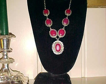Sterling STATEMENT Necklace Red MAHARANEE India Style