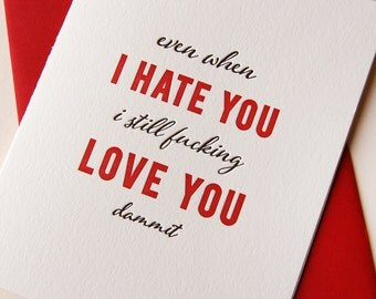 Letterpress funny love and hate card - Hate You Love You