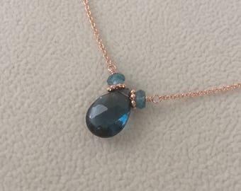 London Blue Topaz Gemstone Choker Necklace in Rose Gold-fill Chain