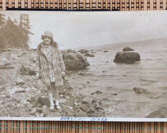 Seaside Deco Darling:  Vintage Photograph of Girl Dressed up at the Beach, R