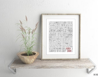 1 Corinthians 13 Personalized with Names Typography Print 8x10 Couples Word Art Wedding Love Anniversary