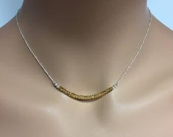 Citrine Gemstone Bar Necklace in Sterling Silver