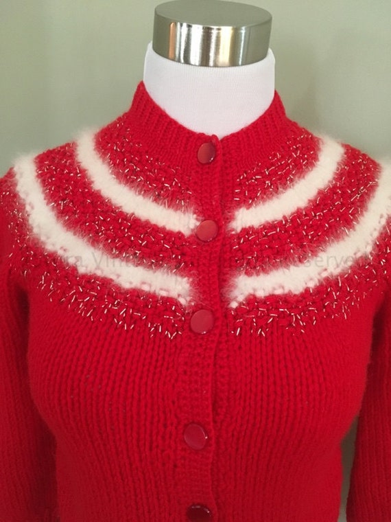 1950s Adorable Red and White Cardigan Sweater with White Angora and Silver Thread Contrast-XS S