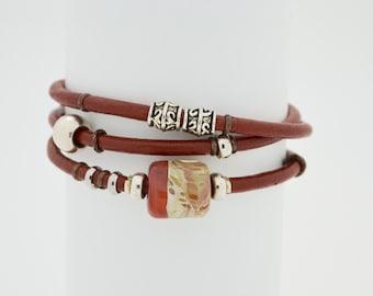 Boro Bead Tri-Wrapped Italian Leather Bracelet  Bebe'sGlassBeads #26  Size M