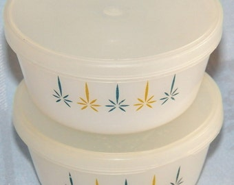 Vintage Anchor Hocking Fire King Candleglow 2 Custard Cups #434 with Lids 6 Ounce