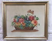 Antique theorem painting of fruit in a basket