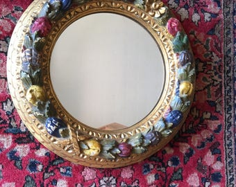 Antique wood polychrome painted mirror