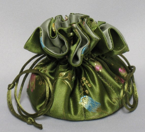 Jewelry Travel Tote---Satin Brocade Drawstring Organizer Pouch---Olive Green Floral---Medium Size