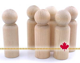"""Wood Peg Doll - 10pc - 3 3/4"""" tall - Unfinished Natural Wooden Person #LP350 - Wedding Party Cake Topper Groom - Waldorf People Crafts"""
