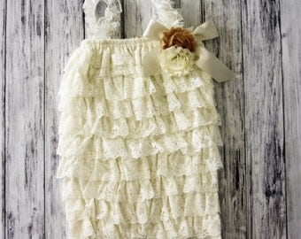 Petti Romper with Shabby Flower - Lace Romper - Girls Romper -Romper - Ruffle Romper - Petti Lace Romper - Baby Outfit