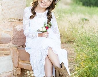 Flower Girl Dress- lvory or White Lace Long Sleeve Dress-Baby Flower Girl Dress-Dresses- Ivory Girls Dress-Cream Dress- Rustic Wedding Dress