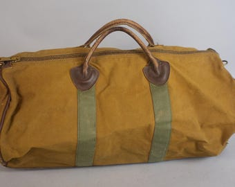 Vintage LL Bean Large Canvas and Leather Duffle Bag