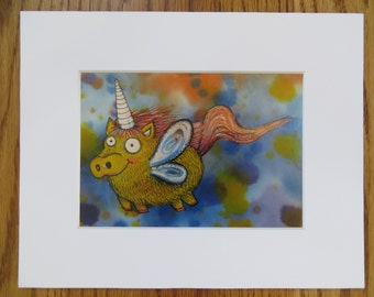 Pigicorn Matted Print of Painting by Kelly Green H-Baum Pigs Fly Pig Unicorn Yellow Blue2