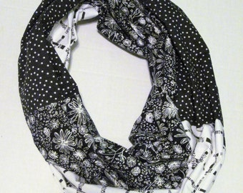 Black White Multi Print Infinity Scarf Loop Scarf Circle Scarf