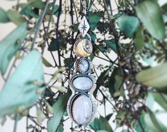 "Pink Beryl, moonstone & botswana agate ""Moon Goddess"" Pendant // multiple stone pendant / pastel colour / rustic / bohemian / boho / moon"