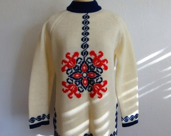 60s acrylic BoHo Nordic tunic sweater size medium