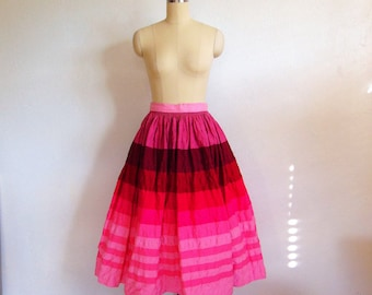 70s does 50s cotton PINK STRIPE full skirt size medium