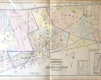 Original 1910 Delaware County Atlas map of Borough of Morton and part of Springfield Township