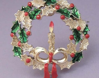 GERRY'S Christmas Wreath, Gerry's Wreath with Candle Pin, Vintage Gerry's Christmas Wreath Brooch, Gerry's Christmas Jewelry,