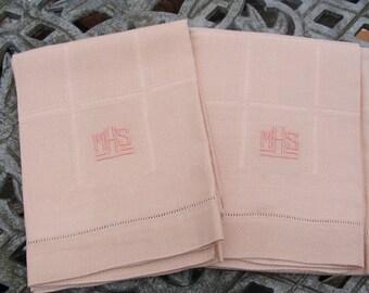 Never Used .... 1 Heavy Linen Damask Vintage Pink Monogram Towel