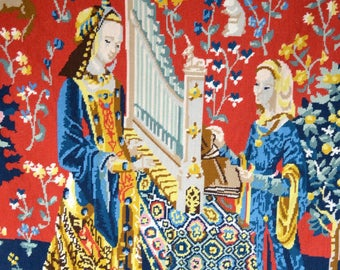Large Completed Medieval Needlepoint Tapestry Panel - Lady and The Organ - Dame 'A La Licorne