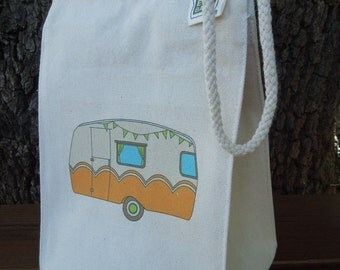 Recycled cotton lunch bag - Canvas lunch bag - Small canvas project bag - Vintage camper - Happy camper - Picnic lunch bag
