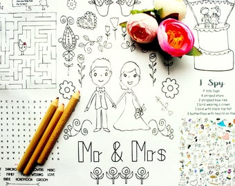 Wedding Coloring Pages Childrens Wedding Favor - Printable PDF INSTANT DOWNLOAD - Printable Wedding Coloring Page - Party Favors