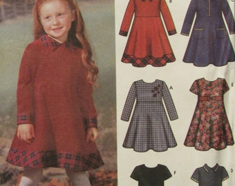 Simplicity 5827/Uncut Sewing Pattern/Little Girls Dress/Easy Sew/Childrens Clothing/Size 3-4-5-6-7-8/2002