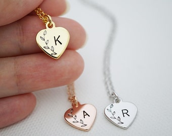 Heart Personalized Necklace Initial Necklace Heart necklace Bridesmaid Gift Dainty charm necklace Bridesmaid necklace gift for her Wedding