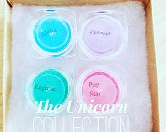 UNICORN Collection Mineral EYE Shimmer Eye Shadow, Makeup Gift SET  Mica Powder 40ml total - Mermaid, Aloha, Laguna & Pop Star Included