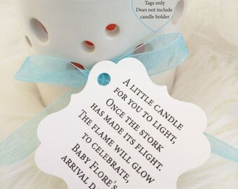 Baby Shower Candle Prayer, Stork Has Made His Flight Baby Shower Candle  Favor, Favor