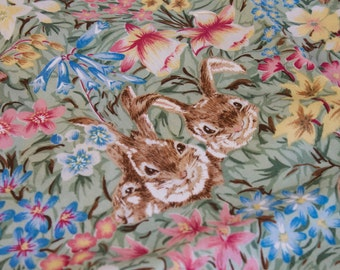 Easter Bunny Fabric with Spring Flowers by High Fashion Fabrics Inc.