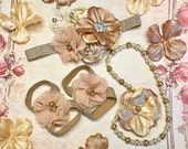 Headband Barefoot Sandals Pearl Necklace Baby Girl Gift Set Bronze Gold Beige Mauve Christmas Outfit beads fabric flowers shimmer Photo Prop