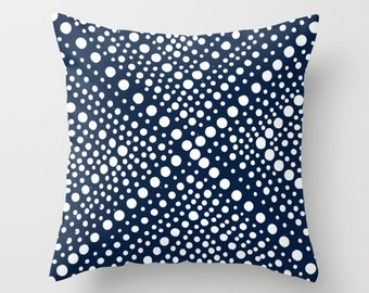 OUTDOOR Throw Pillow - Navy Blue Outdoor Pillow Navy and White Patio Cushion - Modern Geometric X Dot - Outdoor Pillow 16 18 20 inch