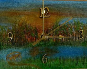 "Sunrise at Black River, Original Oil Painting Clock, 6"" x 8"" x 2"", CP5"