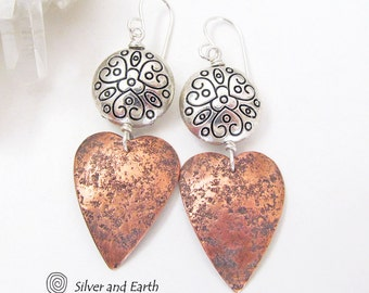 Mixed Metal Heart Earrings, Mother's Day Jewelry, Gift for Her, Copper Earrings, 7th Copper Wedding Anniversary Gift, Romantic Heart Jewelry