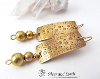 Gold Dangle Earrings, Hammered Brass Earrings, Gold Bar Earrings, Handmade Metal Jewelry, Lightweight Earrings, Contemporary Modern Earrings