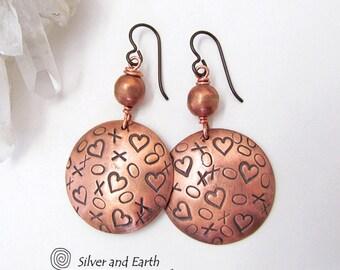 XOXO Earrings, Copper Earrings, Handmade Artisan Jewelry, Copper Anniversary Gift, XOXO Jewelry, Mother's Day Gift, Romantic Love Jewelry