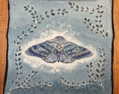 Moon Moth on cloudy blue - Hand painted silk tarot cloth, altar cloth, square scarf - 25 x 25 inches, crepe de chine silk